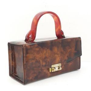 Vintage Box Bag Lucite Handle 50s 60s